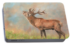 Portable Battery Charger featuring the painting European Red Deer by David Stribbling