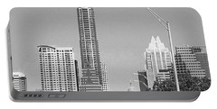 Even In #blackandwhite, The #skyline Of Portable Battery Charger by Austin Tuxedo Cat
