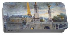 Evening At Pont Du Alexandre, Paris Portable Battery Charger