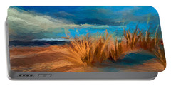 Portable Battery Charger featuring the mixed media Evening Beach Dunes by Anthony Fishburne
