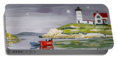 Portable Battery Charger featuring the painting Evening Lighthouse by Phyllis Kaltenbach