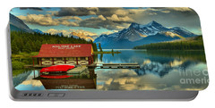 Evening Reflections At Maligne Lake Panorama Portable Battery Charger