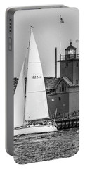 Evening Sail At Holland Light - Bw Portable Battery Charger