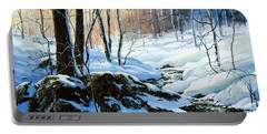 Portable Battery Charger featuring the painting Evening Shadows by Hanne Lore Koehler