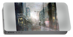 Evening Walk In The Rain Portable Battery Charger by Raymond Doward