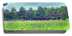 Evergreen Lake - Impressionism Portable Battery Charger