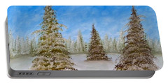Evergreens In Snowy Field Enhanced Colors Portable Battery Charger