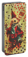 Evil Clown Doll On Playing Cards Portable Battery Charger