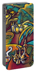 Portable Battery Charger featuring the painting Exotic East, Coffee And Olive Oil by Leon Zernitsky