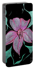 Portable Battery Charger featuring the painting Exotic Flower by Tbone Oliver