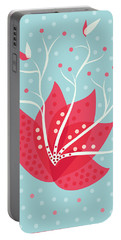 Exotic Pink Flower And Dots Portable Battery Charger