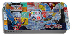 Explore The Usa License Plate Art And Map Travel Collage Portable Battery Charger