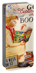 Portable Battery Charger featuring the photograph Exploring Books 1961 by Padre Art
