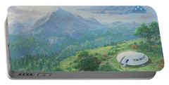 Portable Battery Charger featuring the digital art Exploring New Landscape Spaceship by Martin Davey