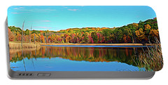 Portable Battery Charger featuring the photograph Expressionalism Autumn Pond by Aimee L Maher Photography and Art Visit ALMGallerydotcom