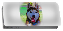 Portable Battery Charger featuring the digital art Expressive Siberian Husky  A62117d by Mas Art Studio