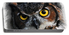 Portable Battery Charger featuring the digital art Expressive Owl Digital A2122216 by Mas Art Studio
