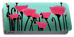 Expressive Red Pink Green Poppy Painting Y1a Portable Battery Charger
