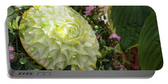 Extravagant Jeweled Dishes - Carved Melon Flower With Green Pearls Portable Battery Charger
