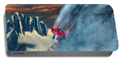 Portable Battery Charger featuring the painting Extreme Ski Painting  by Sassan Filsoof