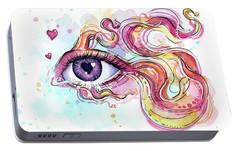 Eye Fish Surreal Betta Portable Battery Charger by Olga Shvartsur