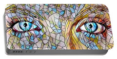 Eyes Of A Goddess - Stained Glass Portable Battery Charger