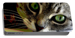 Eyes Of The Cat Portable Battery Charger by Charles Shoup