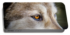 Portable Battery Charger featuring the photograph Eyes Of The Gray Wolf by Teri Virbickis