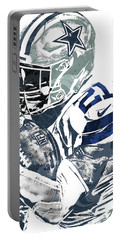 Portable Battery Charger featuring the mixed media Ezekiel Elliott Dallas Cowboys Pixel Art 5 by Joe Hamilton