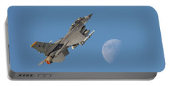 Portable Battery Charger featuring the photograph F16 - Aiming High by Pat Speirs