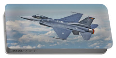 Portable Battery Charger featuring the digital art F16 - Fighting Falcon by Pat Speirs