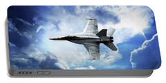 Portable Battery Charger featuring the photograph F18 Fighter Jet by Aaron Berg