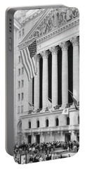 Facade Of New York Stock Exchange, Manhattan, New York City, New York State, Usa Portable Battery Charger