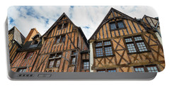 Facades Of Half-timbered Houses In Tours, France Portable Battery Charger