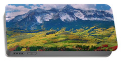 Facinating American Landscape Flowers Greens Snow Mountain Clouded Blue Sky  Portable Battery Charger