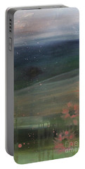 Portable Battery Charger featuring the painting Faded Days Gone By by Robin Maria Pedrero