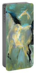 Portable Battery Charger featuring the pastel Fading Out To Three by Frances Marino