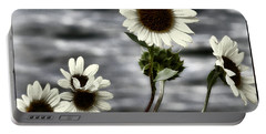 Portable Battery Charger featuring the photograph Fading Sunflowers by Susan Kinney