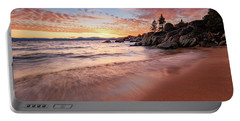 Fading Sunset Waves At Sand Harbor Portable Battery Charger