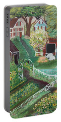 Portable Battery Charger featuring the painting Fairview Farm by Virginia Coyle