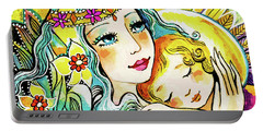 Portable Battery Charger featuring the painting Fairy Mother And Angel Child by Eva Campbell