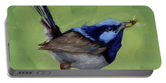 Fairy Wren With Lunch  Portable Battery Charger by Margaret Stockdale