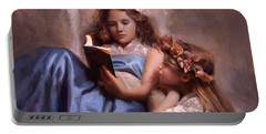 Portable Battery Charger featuring the painting Fairytales And Lace - Portrait Of Girls Reading A Book by Karen Whitworth