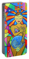 Faith, She Carries The World On Her Hips Portable Battery Charger by Jeremy Aiyadurai