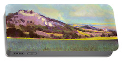 Portable Battery Charger featuring the painting Falkenstein Landscape In Lower Austria Weinviertel by Menega Sabidussi