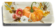 Portable Battery Charger featuring the painting Fall Autumn Harvest Wreath On Birch Bark Watercolor by Audrey Jeanne Roberts