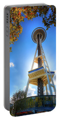 Fall Day At The Space Needle Portable Battery Charger by David Patterson