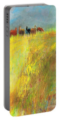 Portable Battery Charger featuring the painting Fall Day On The Mesa by Frances Marino