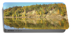 Fall Hues On The North Saskatchewan River Portable Battery Charger by Jim Sauchyn