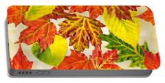 Portable Battery Charger featuring the mixed media Fall Leaves Pattern by Christina Rollo